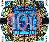 100 euro banknot holografik bir yama — Stok fotoğraf
