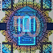 Holographic patch of fifty Euro banknote - Stock Photo