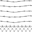 Vector of wired fence with five barbed wires — Stock Vector