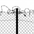Stock Vector: Vector of wired fence with barbed wires