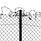 Vector of wired fence with barbed wires — Stock Vector