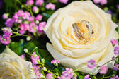 Wedding rings with bouquet from roses — Stock Photo