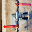 Red Water Valves — Stock Photo