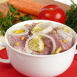 Marinated meat with lemon and onion — Stock Photo