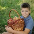 Royalty-Free Stock Photo: A child with a basket of red apples