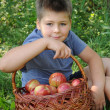A child with a basket of red apples — Stock Photo #6390683