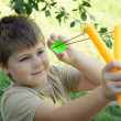 Stock Photo: A boy plays with a left-handed catapult