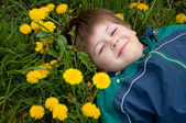 The boy lay on the grass with dandelions — Stock Photo