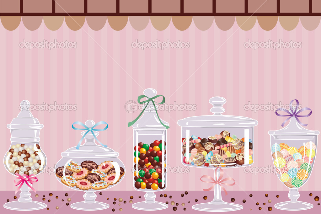 Candy jars with chocolates, candies and dragees — Stock Vector #5448177