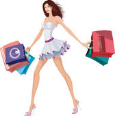 Chic lady with shopping bags — Stock Vector
