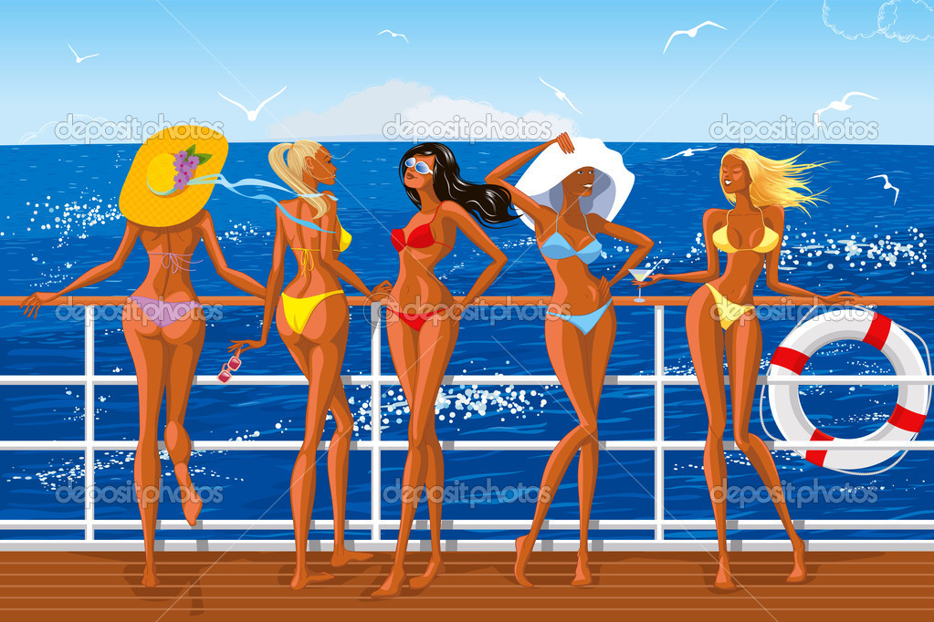 Beautiful girls in bikini sailing on the yacht — Stock Vector #5556769