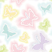 Seamless pattern with butterflies in watercolor technique — Stock Vector