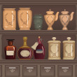 Vector de stock : Old pharmacy