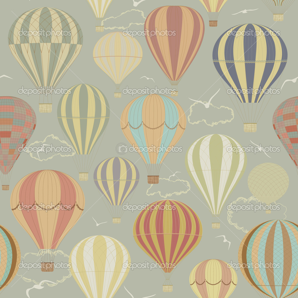 Seamless pattern with hot air balloons in a retro style — Grafika wektorowa #5627768