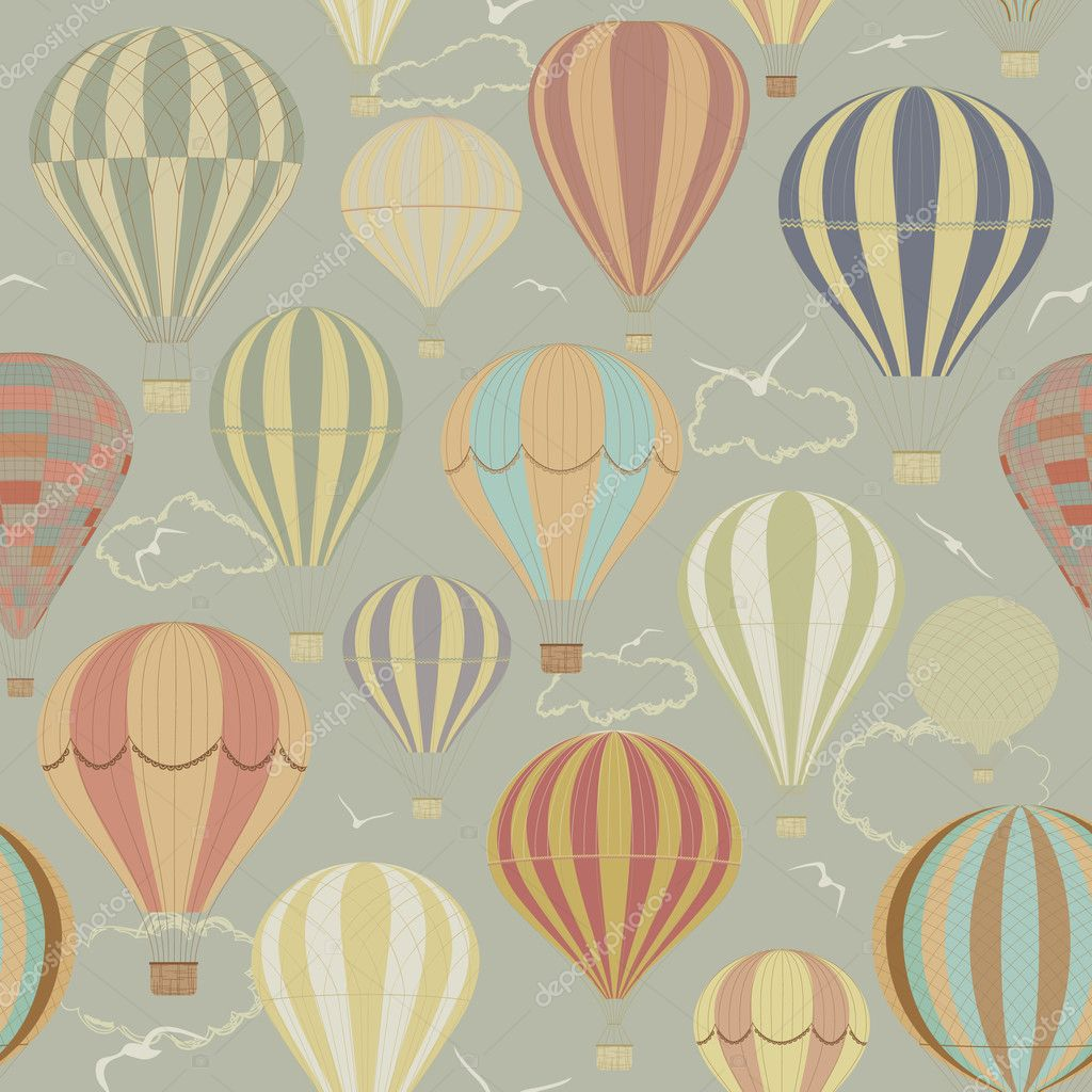 Seamless pattern with hot air balloons in a retro style — ベクター素材ストック #5627768