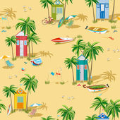 Background with beach huts — 图库矢量图片