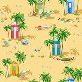 Fondo con playa cabañas — Vector de stock