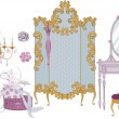 Decor items of dressing room in victorian style — Stock Vector #5877382