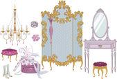 Artículos de decoración de camerino en estilo victoriano — Vector de stock