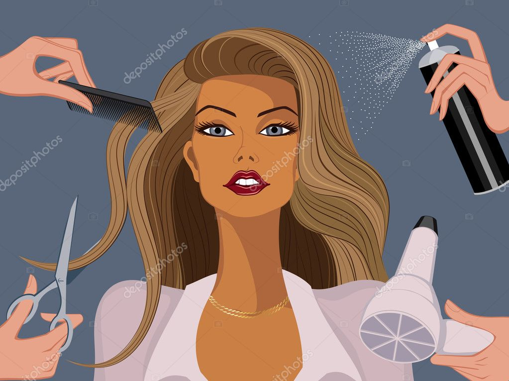 Woman in a beauty salon — Imagen vectorial #6033840