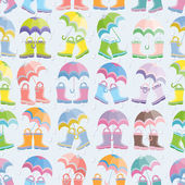 Rubber boots and umbrellas seamless pattern — Stock Vector