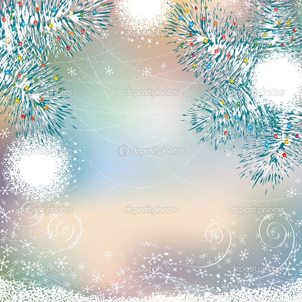 Abstract christmas background with snowballs on branches of christmas tree  Stock Vector #6516232