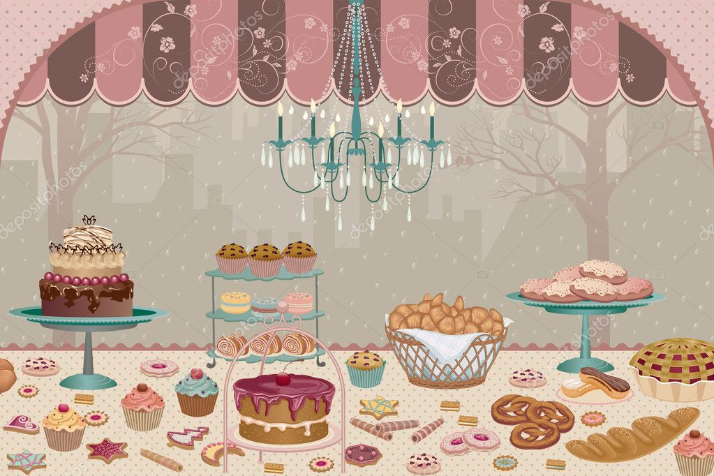 Showcase pastry shop with a variety of cakes, pies, cookies and cupcakes — Stock Vector #6567212