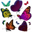 Set of color butterflies of tattoos — Stock Vector