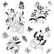 Stock Vector: Set with butterflies and flower patterns