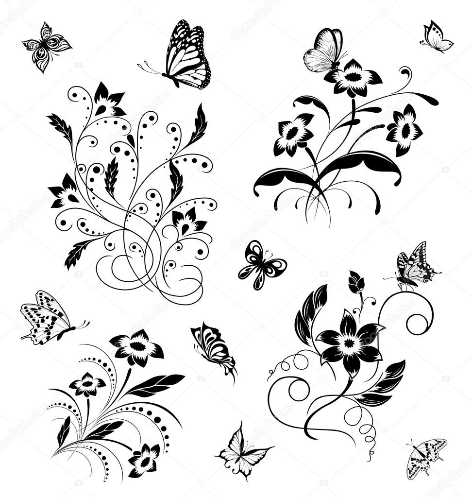Set with butterflies and flower patterns — Image vectorielle #6406913
