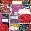 Set of beautiful  roses  banner — Image vectorielle