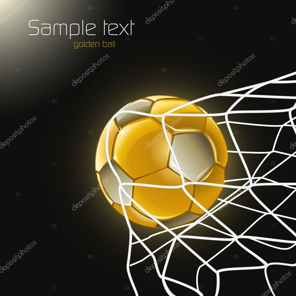 Football poster with golden goal — Stock Vector #5652813