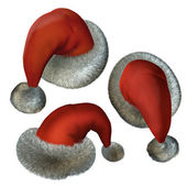 Three red santa hats on white — Stock Photo