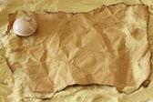Alte papier-tag auf natürliche sackleinen — Stockfoto