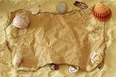 Etiqueta de papel viejo en arena natural con conchas de mar — Foto de Stock