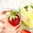 Ice Cold Lemonade  and strawberry cocktail - Stock Photo