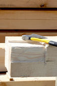 Axe on the building site — Stockfoto