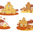 Stock Vector: Wooden country houses