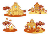 Wooden country houses — Stock Vector