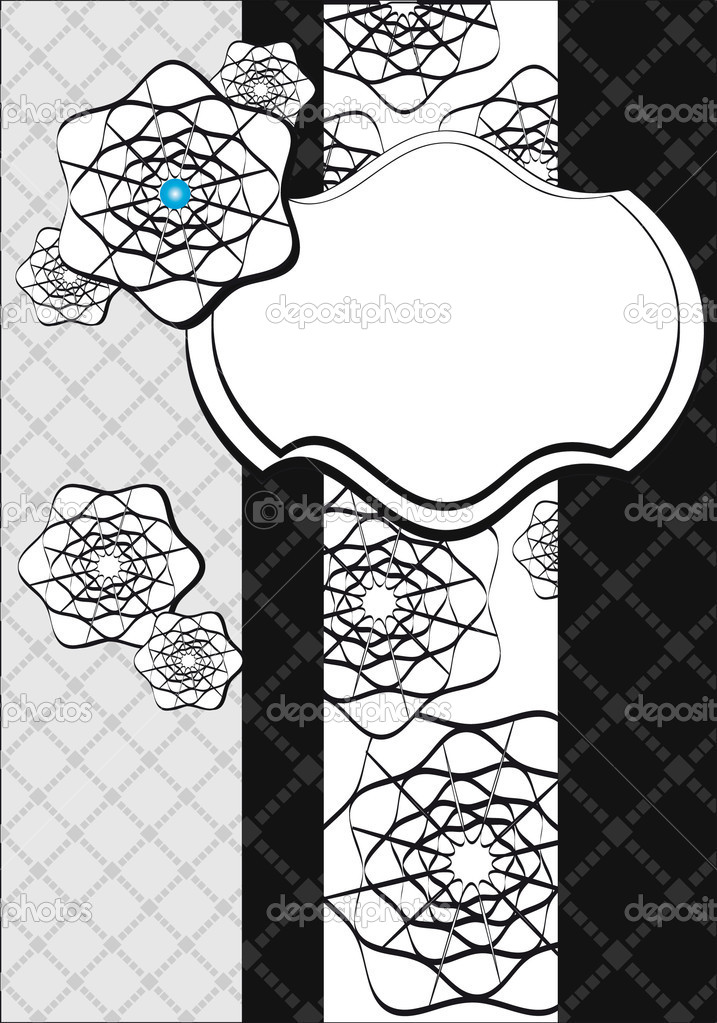 Black And White Graphic Background Black And White Postcard With Graphic Pictures And Frames Vector by