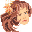 Portrait of beautiful woman with bouquet of lilies in hair — Stock Vector