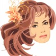 Portrait of beautiful woman with bouquet of lilies in hair — Stock Vector #5834050