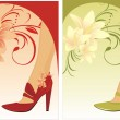 Stylish female shoes. Two compositions for card — Stock Vector