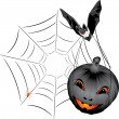Bat with pumpkin. Halloween — Stock Vector