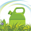 Petrol canister among grass and flowers — Stock Vector