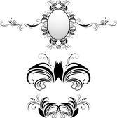 Three decorative elements for decor — Vector de stock