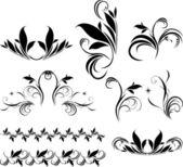 Set of decorative floral elements for design — Stock Vector