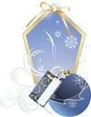 Bola de navidad con tarjeta navideña — Vector de stock