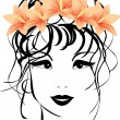 Stock Vector: Portrait of woman with bouquet of lilies in hair