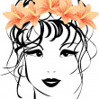 Portrait of woman with bouquet of lilies in hair — Stock Vector